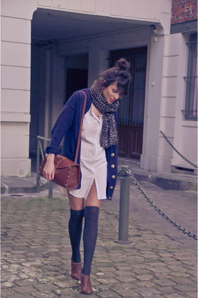 blue H&amp;M cardigan - brown H&amp;M shoes - beige Maje shirt - brown Zara accessories