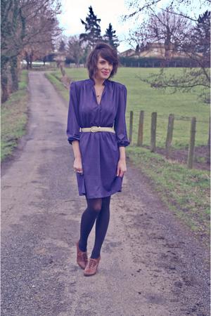 blue vintage dress - beige vintage belt - brown H&M shoes