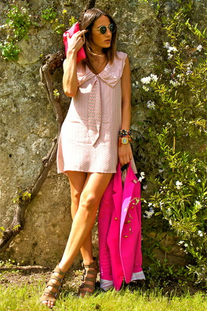 light pink kling dress - hot pink Zara blazer - hot pink Zara bag