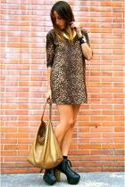 brown Zara dress - black Jeffrey Campbell shoes - bronze Carolina Herrera bag