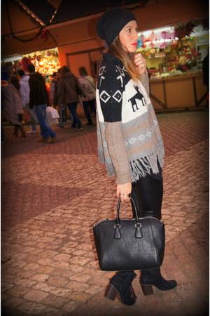 light brown Zara sweater - silver Zara sweater - black Bershka boots