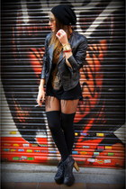 black Jeffrey Campbell shoes - black Accessorize hat - black Zara jacket