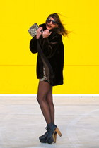 black Jeffrey Campbell shoes - dark brown my mum coat - gold Zara bag