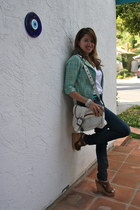 aquamarine tweed Kika Paprika jacket - navy H&M jeans - white dior purse