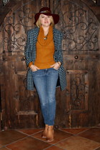 blue maxi blazer Forever 21 coat - light brown booties Betsey Johnson boots