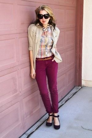 magenta colored denim Forever 21 jeans - tan utility Gap jacket