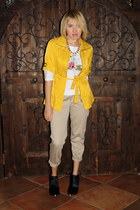 yellow TJ Maxx jacket - black Steve Madden boots - tan khaki Forever 21 pants