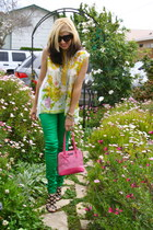 chartreuse asos jeans - bubble gum kate spade purse
