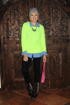 yellow neon knit Forever 21 sweater - black studded flat Steve Madden boots