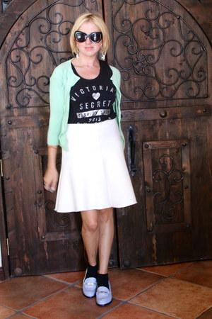 aquamarine cropped knit Victorias Secret cardigan - white Zara skirt