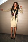 Khaki-blazer-gap-jacket-schiffon-fringe-scarf-belt-khaki-pencil-bebe-skirt