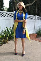 gold double cuff asos bracelet - blue katherine Kika Paprika dress