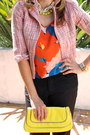 Yellow-neon-park-lane-necklace-light-pink-tweed-cropped-kika-paprika-jacket