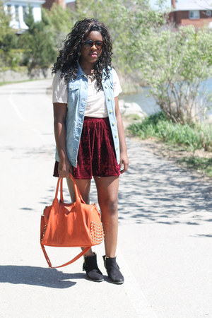brick red velvet Joe Fresh skirt - sky blue denim Vero Moda vest