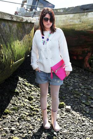 pink Primark bag - cream Miss Selfridge sweater - denim H&M shorts