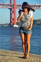 denim Zara jacket - denim studded Zara shorts - sequined Koton top