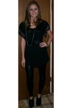 black Miley Cyrus leggings - black TJ Maxx shirt - black Charlotte Russe boots -