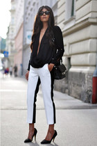 black PROENZA SCHOULER bag - black wayfarer ray-ban sunglasses
