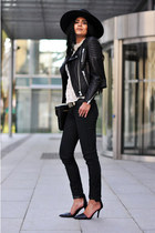 skinny H&M jeans - fedora H&M hat - biker H&M jacket - H&M belt