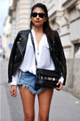 Sky-blue-denim-cutoff-romwe-shorts-black-leather-h-m-jacket