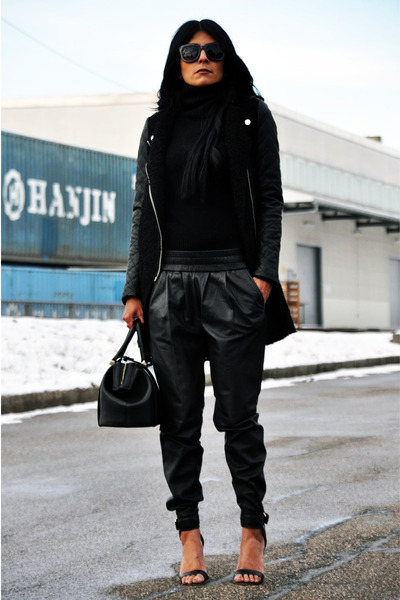 black leather sleeves Zara coat - black doctor Zara bag