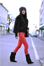 Black-lazio-isabel-marant-boots-black-fur-mango-coat-black-h-m-hat