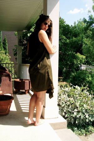 olive green t by alexander wang dress - black Chanel bag