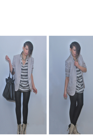 beige H&M blazer - white H&M dress - black H&M tights - beige BLANCO shoes