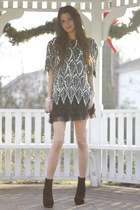 sequin vintage top - suede necessary clothing boots - tulle H&M skirt