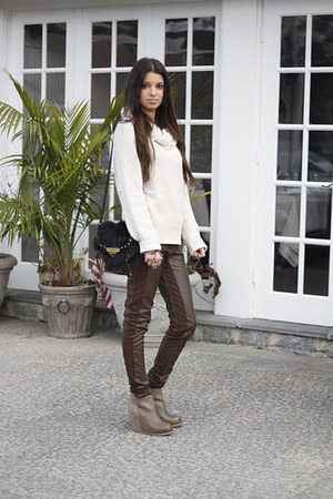 faux leather H&amp;M pants - suede  leather Dolce Vita boots - H&amp;M sweater