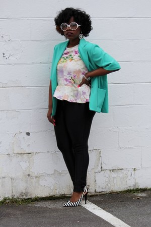 peplum H&amp;M top - thrifted blazer - American Apparel pants - heels