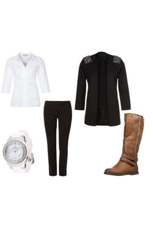 anna field boots - just female blazer - Kienzle watch - anna field blouse