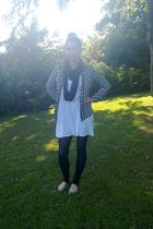 white own design dress - black Vila leggings - silver H&M shirt - black own desi