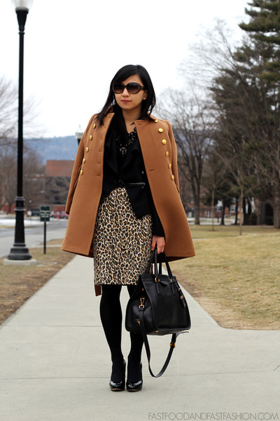J Crew coat - Prada bag - J Crew skirt