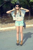 bronze cowboy Levis boots - fringed Zara bag - light blue shorts Levis shorts
