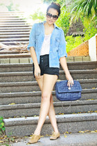 lace Pull and Bear blouse - denim Bershka shirt - chain Zara bag