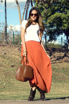 orange maxi LOB skirt - dark brown cowboy Zara boots - white basic Bershka shirt
