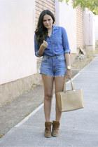 navy denim vintage shorts - dark khaki romwe bag