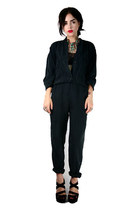 Black silk summer jumpsuit