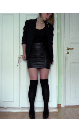 H&M skirt - tights - blazer - earrings
