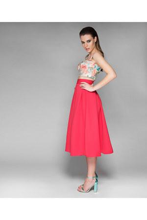 hot pink Mademoiselle Epaulette skirt - cream Mademoiselle Epaulette top