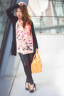 Black-leggings-carrot-orange-candy-bag-furla-bag-black-zara-cardigan