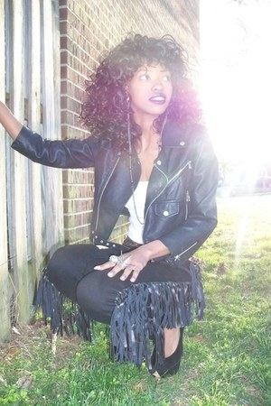 black motorcycle Nasty Gal jacket - black jeans