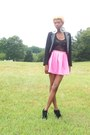 Black-studded-forever-21-blazer-bubble-gum-skirt-black-lace-vest