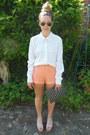 Polka-dot-topshop-shirt-studded-clutch-primark-bag-lace-forever-21-shorts