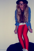 red lycra Ebay leggings - bowler Topshop hat - denim Atmosphere shirt
