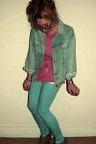 skinny Topshop jeans - wedges suede new look shoes - denim vintage jacket