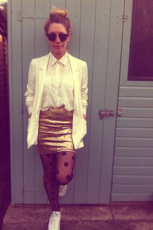 gold velvet Topshop skirt - boyfriend H&M blazer - new look shirt