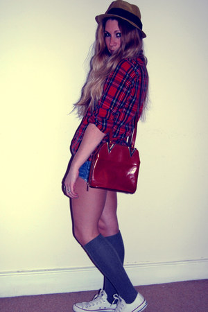 fedora Urban Outfitters hat - lumberjack Topshop shirt - vintage bag