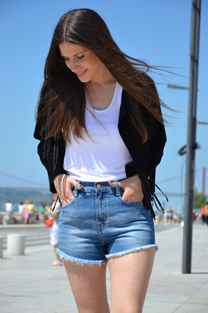 leather Zara jacket - denim Zara shorts - Zara top